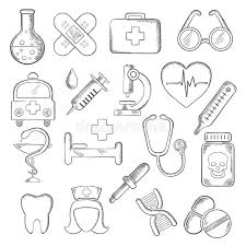 medical and healthcare icons sketches stock vector image 66000907