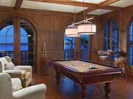 luxury game room design with excellent chandelier and wooden