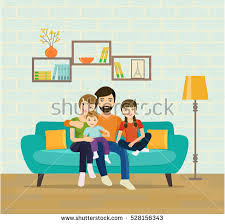 in the livingroom smiling parents their children on stock vector 528156343