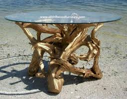 54 inch square glass table top driftwood dining table art hand crafted from gulf island driftwood