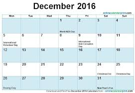 december calendar 2016 with holidays