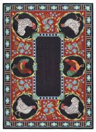 Round Rooster Rug 5 U0027 X 7 U0027 Hand Hooked Rugs Claire Murray