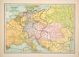 Europe 1815 Map by 1921 Print Map Europe German Confederation Austrian Empire Kingdom
