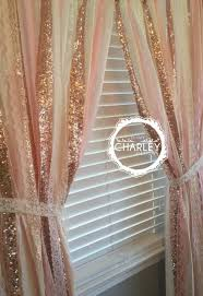 rose gold sparkle sequin garland curtain with lace nursery decor