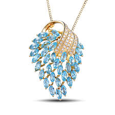 necklace with topaz images 3 68 ct marquise cut blue topaz peacock extravaganza necklace jpg