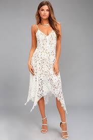 white lace dress lovely white lace dress midi dress handkerchief hem dress 64 00