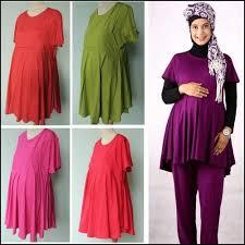 desain baju gamis hamil model baju gamis batik untuk ibu hamil terbaru bahan sifon