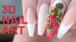 3d acrylic strawberries fresh summer fruits 3d nail art nail