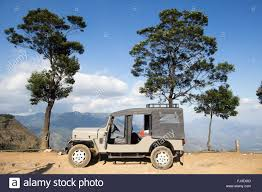 indian jeep mahindra indian mahindra jeep in the munnar hills kerala stock photo