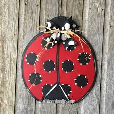 ladybug bug door hanger hang decoration wreath ornament wood