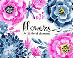 Purple And Blue Flowers Watercolor Flower Clipart 41 Bright Branches Flowers And