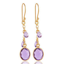 dangle earing amethyst earrings and briolite drops silver dangle earring gold plated
