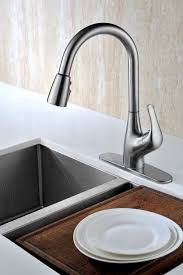contemporary brushed nickel kitchen faucets with tulip single contemporary brushed nickel kitchen faucets with tulip single handle and arc pull down with deck plate also three spray pull out