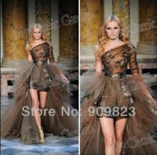 dress one shoulder shear brown dress long sleeve dress puffy