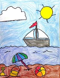beach drawing art projects for kids