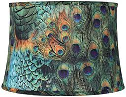 peacock print drum lamp shade 14x16x11 spider household lamps