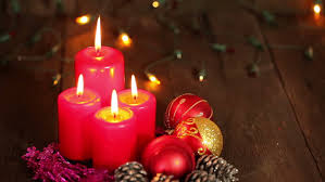Flame Decorations Gold Christmas Balls And Ribbons Flame Burning Red Candles