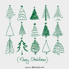 christmas trees sketches free vector 123freevectors