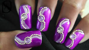 easy purple rhinestone nail art tutorial youtube