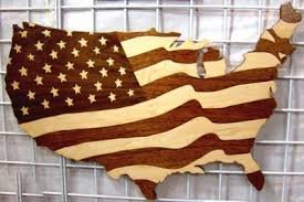usa flag map in wood lakes of wood