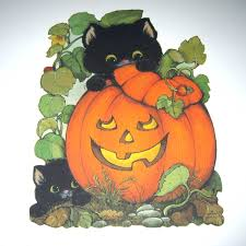 Folk Art Halloween Decorations Vintage Halloween Die Cut Decoration With Black Cats Jack O