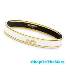 hermes bracelet white images Hermes mens gold plated narrow bracelet white enamel jpg