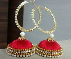 thread earrings pearl chain with silk thread earrings buy collections