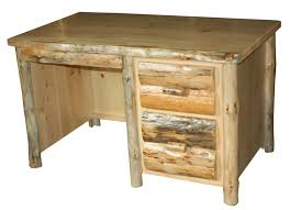 rustic pine writing desk rustic pine log single pedestal writing desk