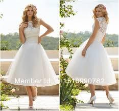 turmec a line cap sleeve tea length wedding dress