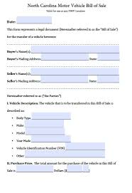 Car Bill Of Sale Template by Free North Carolina Dmv Vehicle Bill Of Sale Form Pdf Word