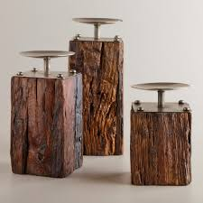 furniture red wooden pillar candle holders for home accessories ideas