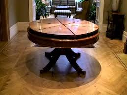 dining modern brown round expandable dining table on chevron