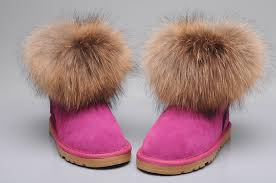 womens ugg boots pink ugg fox fur mini boots 5854 uggyi00000034 124 00