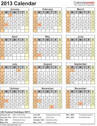 2013 calendar with federal holidays u0026 excel pdf word templates