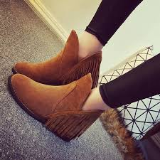 s heeled boots canada wholesale autumn winter suede leather fringe tassel ankle boots