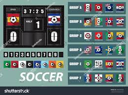 vector scoreboard national team flags template stock vector