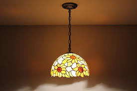 Amber Glass Pendant Lights by Stained Glass Sunflowers Pattern Tiffany Style Pendant Lamp