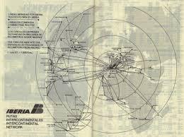 Condor Airlines Route Map by Airline Memorabilia Iberia 1981 1984