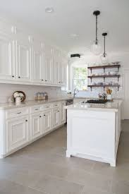 Designer White Kitchens Tile Floor Kitchen White Cabinets Home Designs Kaajmaaja
