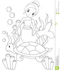 the mermaid and the turtle coloring page stock illustration