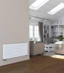 designer radiator horizontal wide flat panel radiators white