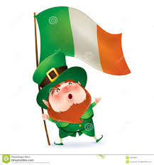 leprechaun holding flag of ireland stock vector image 49859503