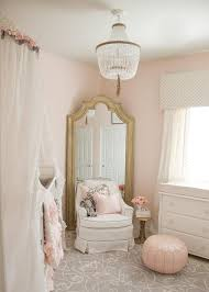 pink and gray nursery design with sheer canopy over crib