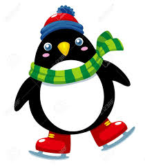 illustration of cute penguin ice skates royalty free cliparts
