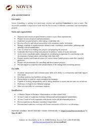 Nanny Job Description Resume by Business Consultant Job Description Resume Free Resume Example