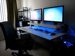 Dual Monitor Computer Desks Dual Monitor Computer Desk Experimental Concept Screens Blue Leds
