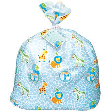 safari 1st birthday blue jumbo plastic gift bag