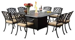 ocean view cast aluminum 9 piece dining set with fire pit table