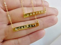 gold name plates necklaces initial bar necklacebar initial necklacepersonalized bar