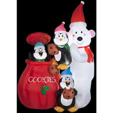 gemmy 6 5 ft h inflatable animated cookie jar and friends 35586x